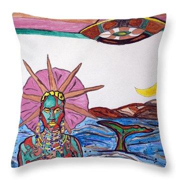 Yemoja Ufo  Throw Pillow by Stormm Bradshaw