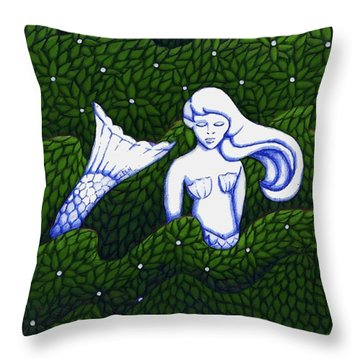 Throw Pillow featuring the mixed media Mermaid At The Garden by Donna Huntriss