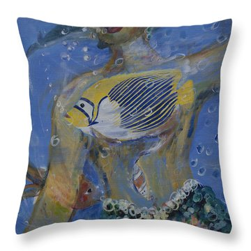 Throw Pillow featuring the painting Mermaid by Avonelle Kelsey