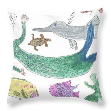 Mermaid Hello Throw Pillow