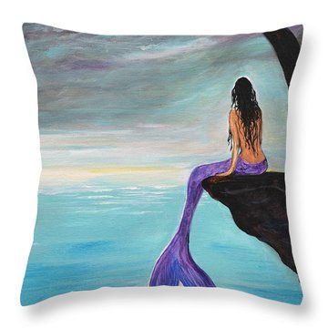 Mermaid Oasis Throw Pillow by Leslie Allen
