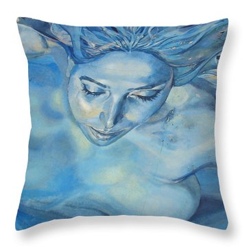 Mermaid Throw Pillow by Ramona Johnston