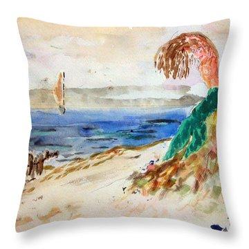 Mermaid Signalling Her Sailors Throw Pillow