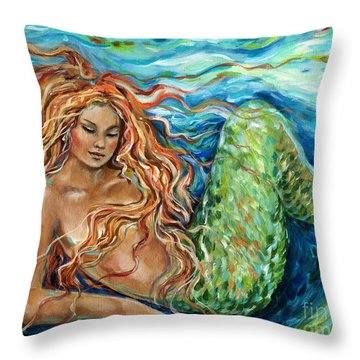 Mermaid Sleep New Throw Pillow by Linda Olsen