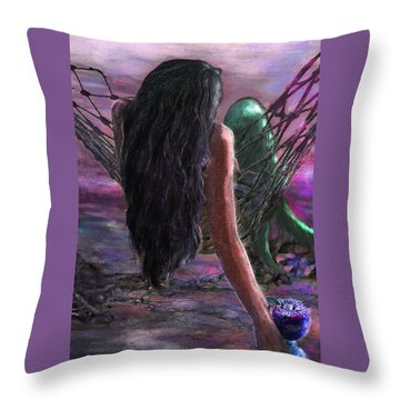 Mermaid Sunset With Cocktail Throw Pillow by Jane Schnetlage