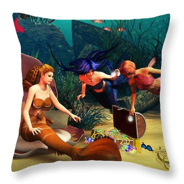 Mermaid Treasures Throw Pillow by Methune Hively