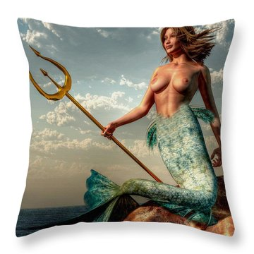 Mermaid With Golden Trident Throw Pillow