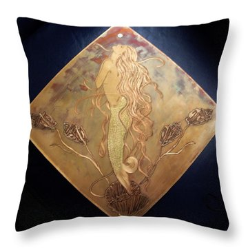 Mermaid With Pearl Throw Pillow