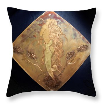 Throw Pillow featuring the mixed media Mermaid With Pearl by Shahna Lax