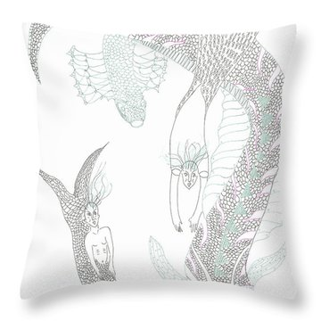 Mermaids And Sea Dragons Throw Pillow by Helen Holden-Gladsky