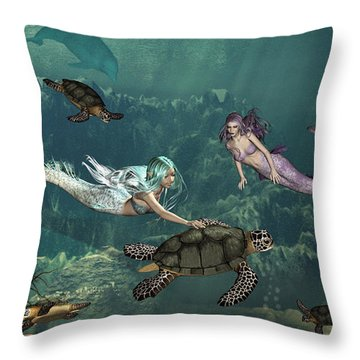 Mermaids At Turtle Springs Throw Pillow by Methune Hively
