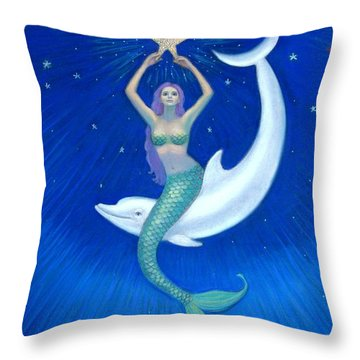 Mermaids- Dolphin Moon Mermaid Throw Pillow