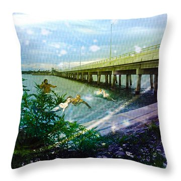 Throw Pillow featuring the digital art Mermaids In Indian River by Megan Dirsa-DuBois