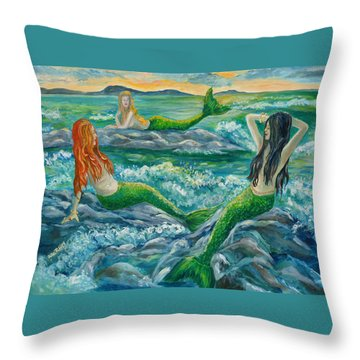 Mermaids On The Rocks Throw Pillow