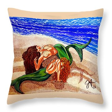 Throw Pillow featuring the painting Mermaids Spent Jackie Carpenter by Jackie Carpenter