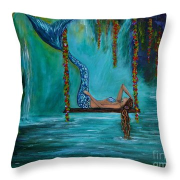 Mermaids Tranquility Throw Pillow by Leslie Allen