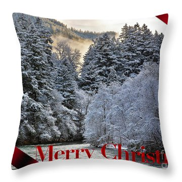 Merry Christmas Card Throw Pillow by Belinda Greb