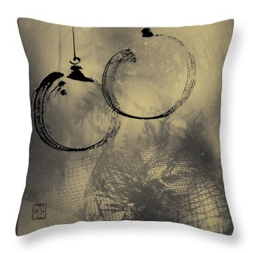 Throw Pillow featuring the mixed media Merry Christmas Card by Peter v Quenter