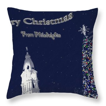 Throw Pillow featuring the photograph Merry Christmas From Philly by Photographic Arts And Design Studio