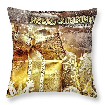 Merry Christmas Gold Throw Pillow by Mo T