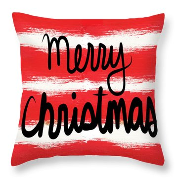 Merry Christmas- Greeting Card Throw Pillow
