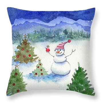 Merry Christmas Throw Pillow by Katherine Miller