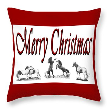 Throw Pillow featuring the drawing Merry Christmas by Marianne NANA Betts