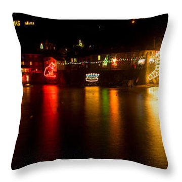 Merry Christmas Mousehole Lights Throw Pillow