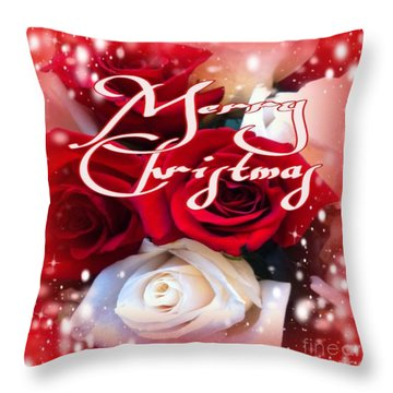 Throw Pillow featuring the photograph Merry Christmas Roses by Gayle Price Thomas