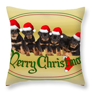 Merry Christmas Rottweiler Puppies Greeting Card Throw Pillow by Tracey Harrington-Simpson