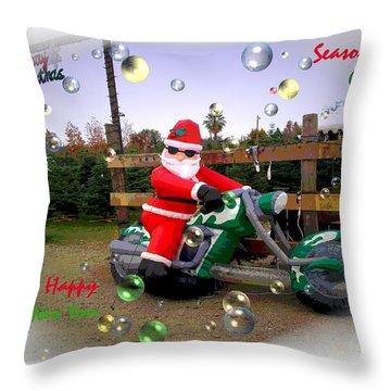 Merry Christmas  Seasons Greetings  Happy New Year Throw Pillow