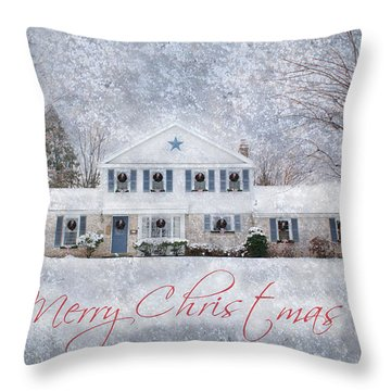 Wintry Holiday - Merry Christmas Throw Pillow