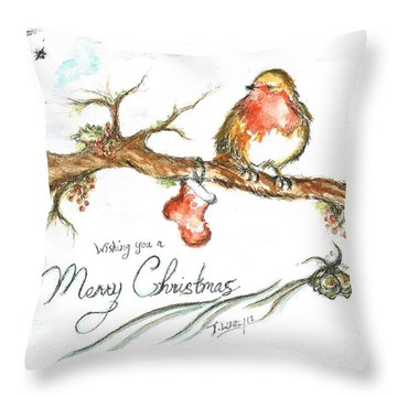Merry Christmas Robin Throw Pillow by Teresa White