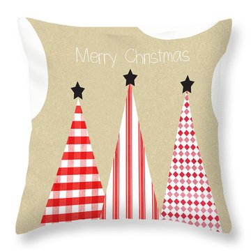 Merry Christmas With Red And White Trees Throw Pillow