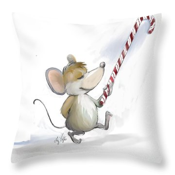 Merry Mouse Moe Throw Pillow