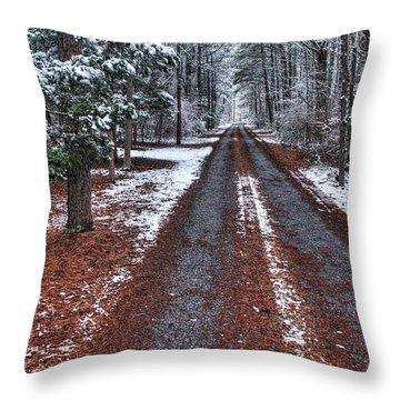 Merry Owl Lane Throw Pillow by John Loreaux