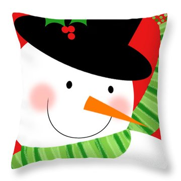 Merry Snowman Throw Pillow