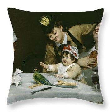 Merrymakers Throw Pillow by Charles Emile Auguste Carolus-Duran