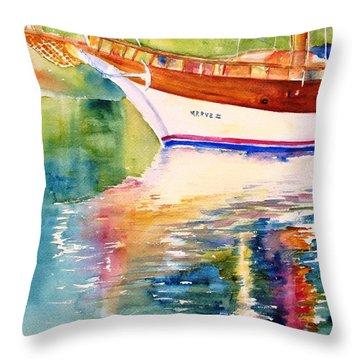 Merve II Gulet Yacht Reflections Throw Pillow