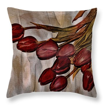Mes Tulipes Throw Pillow by Aimelle