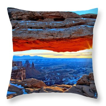 Mesa Arch Sunrise Throw Pillow by Adam Jewell