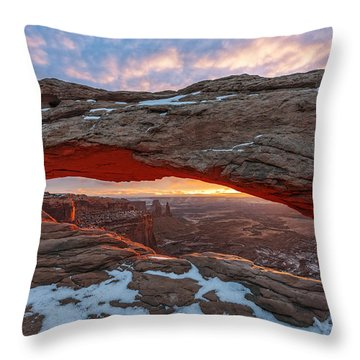 Throw Pillow featuring the photograph Mesa Arch Sunrise by Dustin  LeFevre