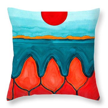Mesa Canyon Rio Original Painting Throw Pillow by Sol Luckman