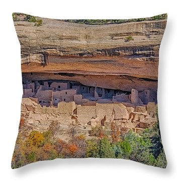 Mesa Verde Cliff Dwelling Throw Pillow by Paul Freidlund