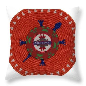 Meskwaki Orange Throw Pillow