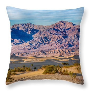 Mesquite Dunes And Mountains Throw Pillow