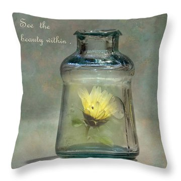 Message In A Bottle Throw Pillow by Angie Vogel