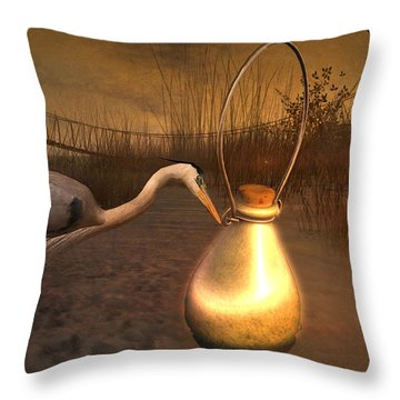 Throw Pillow featuring the digital art Message In A Bottle by Kylie Sabra