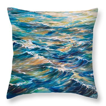 Message In A Bottle Throw Pillow by Linda Olsen