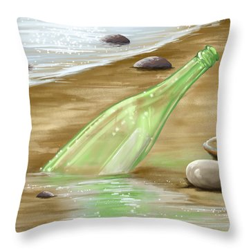 Message Throw Pillow by Veronica Minozzi